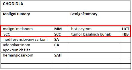 tabulka nejčastějších nádorů chodidel ukočky
