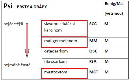 tabulka nejčastějších nádorů prstů adrápů upsa